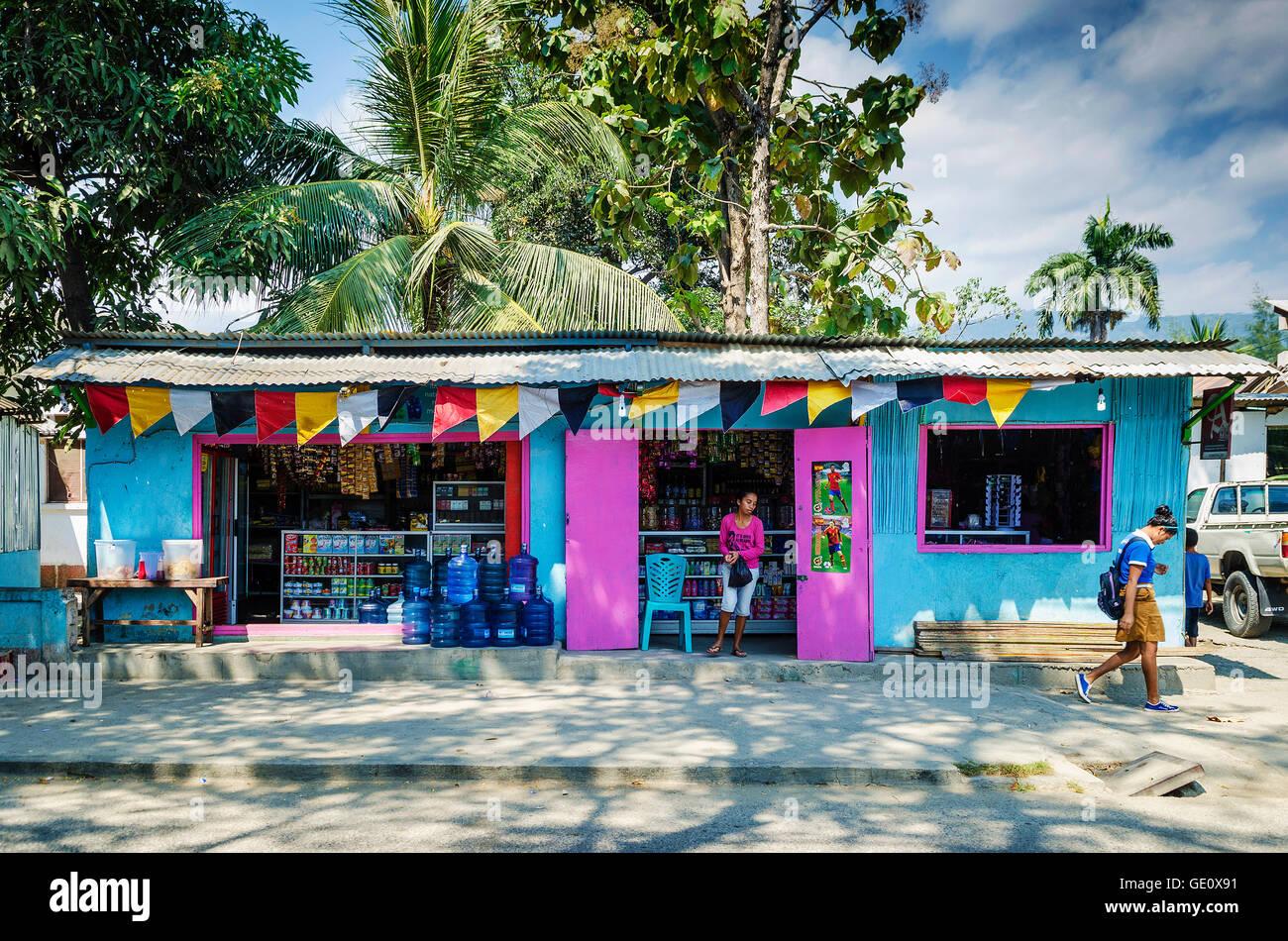 bunte Lebensmittelgeschäft in zentralen Dili Straße in Ost-Timor-Asien Stockbild