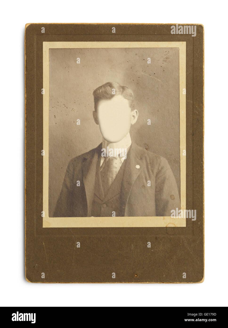 Altes antikes Foto des Mannes mit Gesicht Ausschneiden isoliert auf weißem Hintergrund. Stockbild