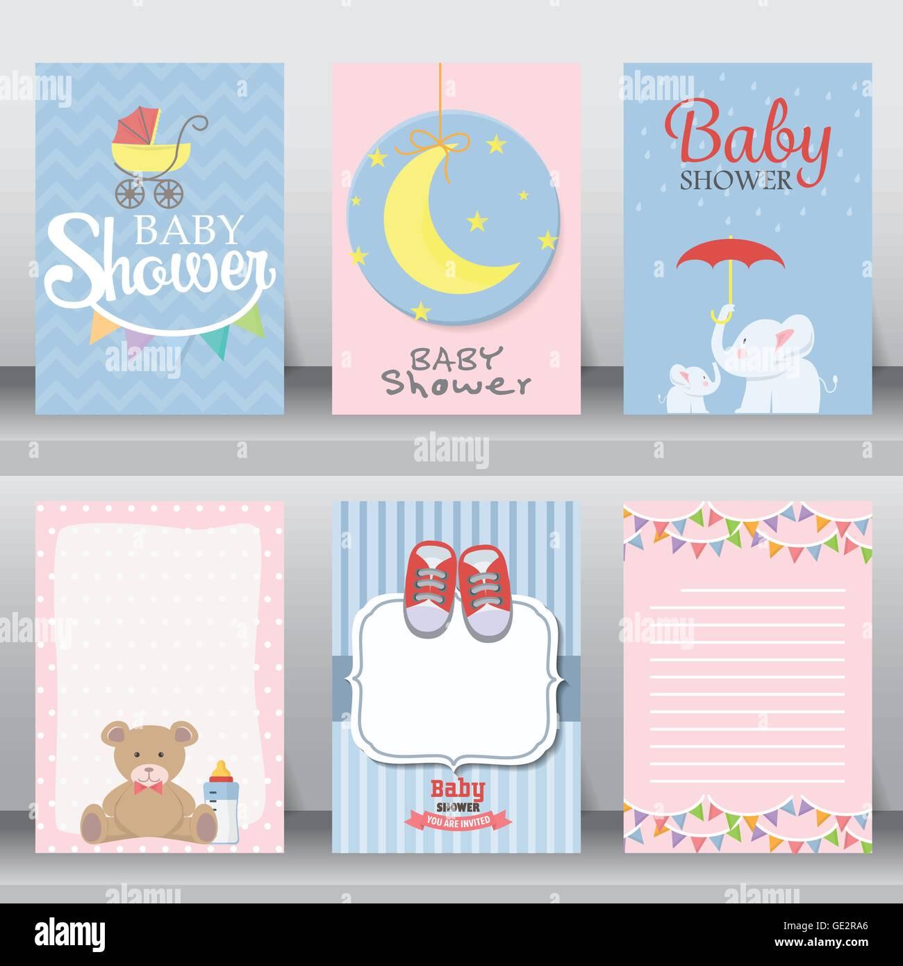 Baby-Dusche Partei Gruß und Einladung-Karte. Layout-Vorlage im A4 ...