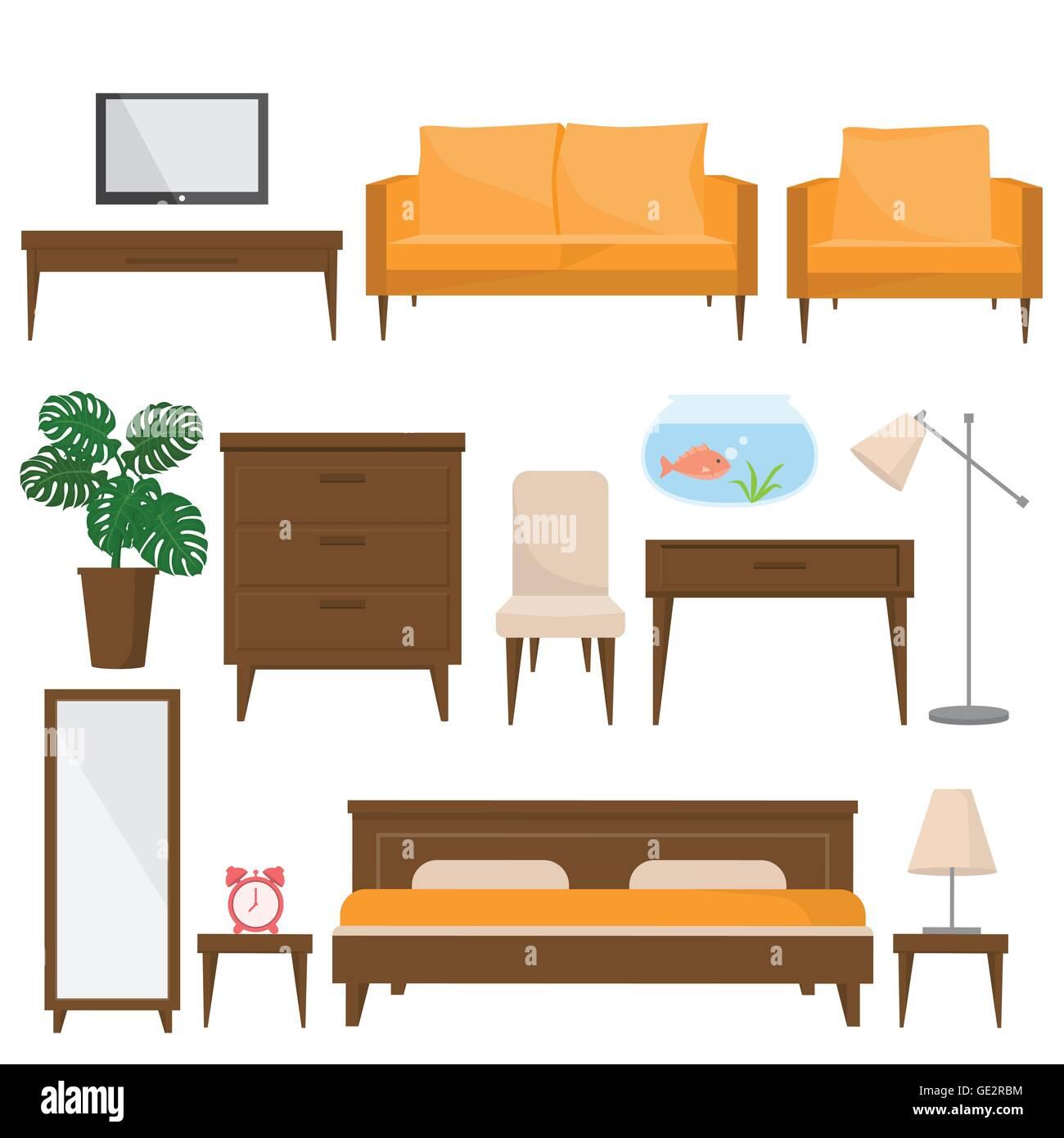 Wohnzimmer, Bett Zimmer Und Büro Möbel Im Modernen Stil. Schöne  Design Elemente, Perfekt Für Jedes Unternehmen Im Zusammenhang Mit Der F