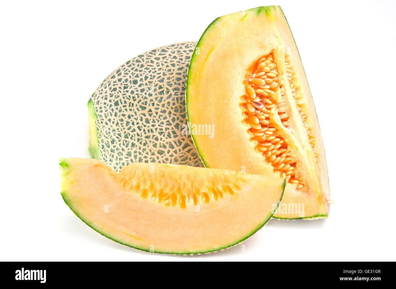 Cucumis Melo oder Melone-Serie im Stahl-Tray (andere Namen sind León, Cantaloup, Honigtau, Crenshaw, Casaba, Stockbild