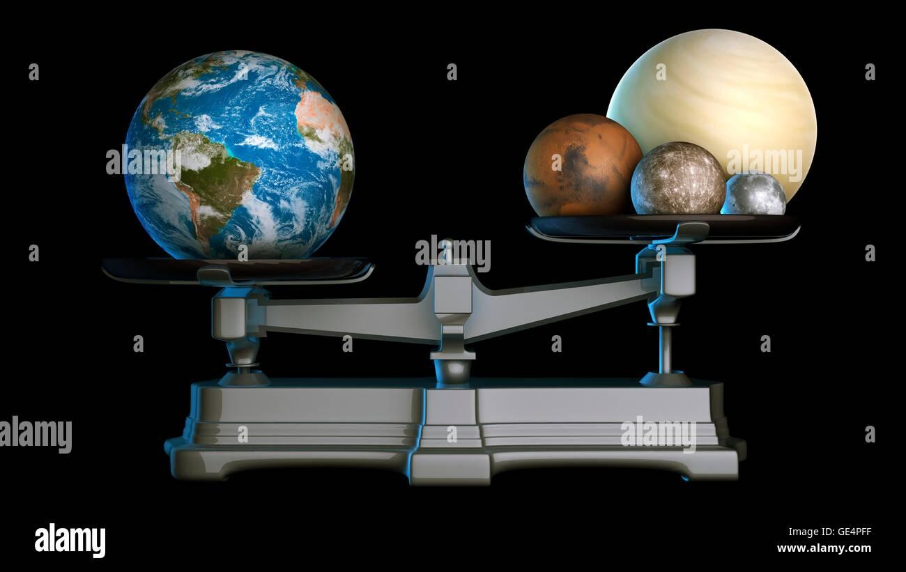 erde der masse abbildung der terrestrischen oder felsigen planeten des sonnensystems auf eine. Black Bedroom Furniture Sets. Home Design Ideas