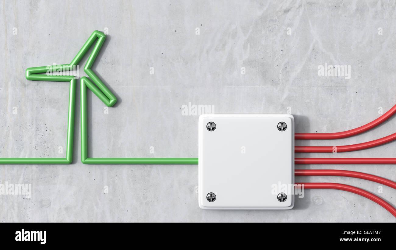 3D-Rendering, Windenergie und Verteiler, grüne wind Rad Stockbild