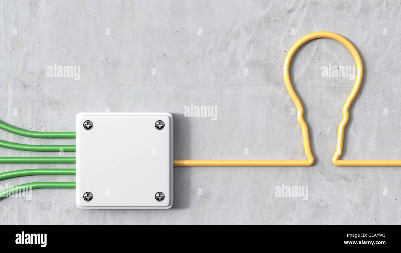 3D-Rendering, Verteiler mit Birne, gelb und grün Stromkabel Stockbild