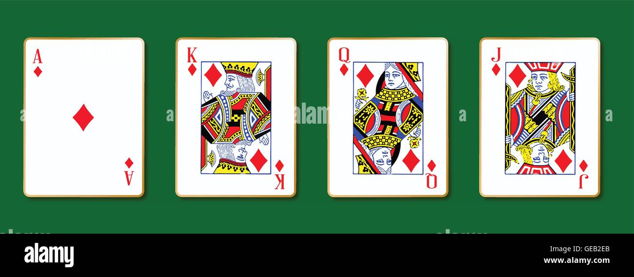 Die Royal Diamond-Spielkarten mit dem Ass auf grünem Hintergrund Stock Vektor