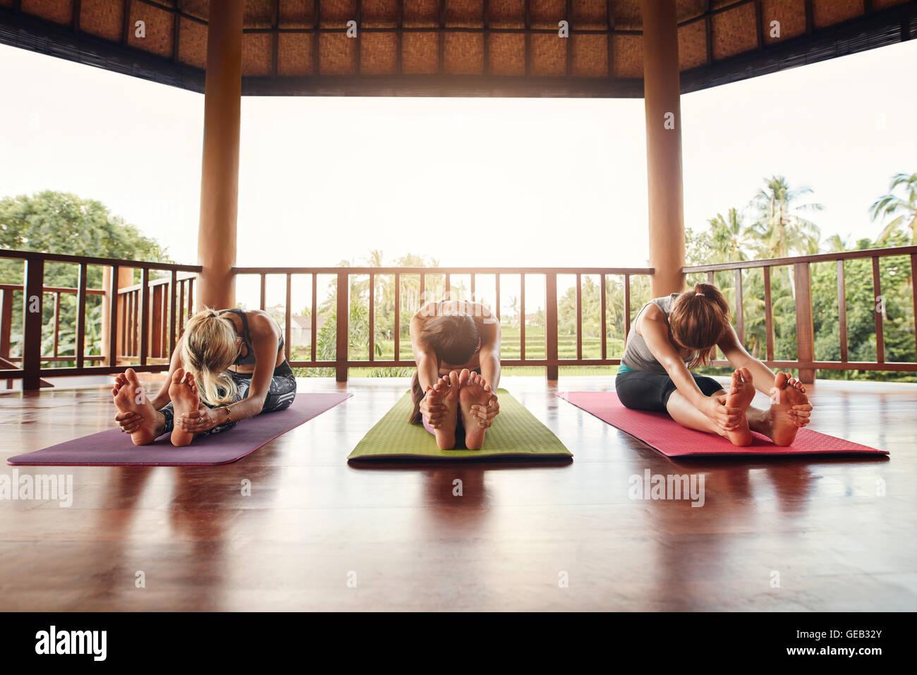 Drei Frauen Yoga Klasse, gemeinsam üben Paschimottanasana darstellen. Fitness Frauen dehnen sich im Yoga. Stockbild