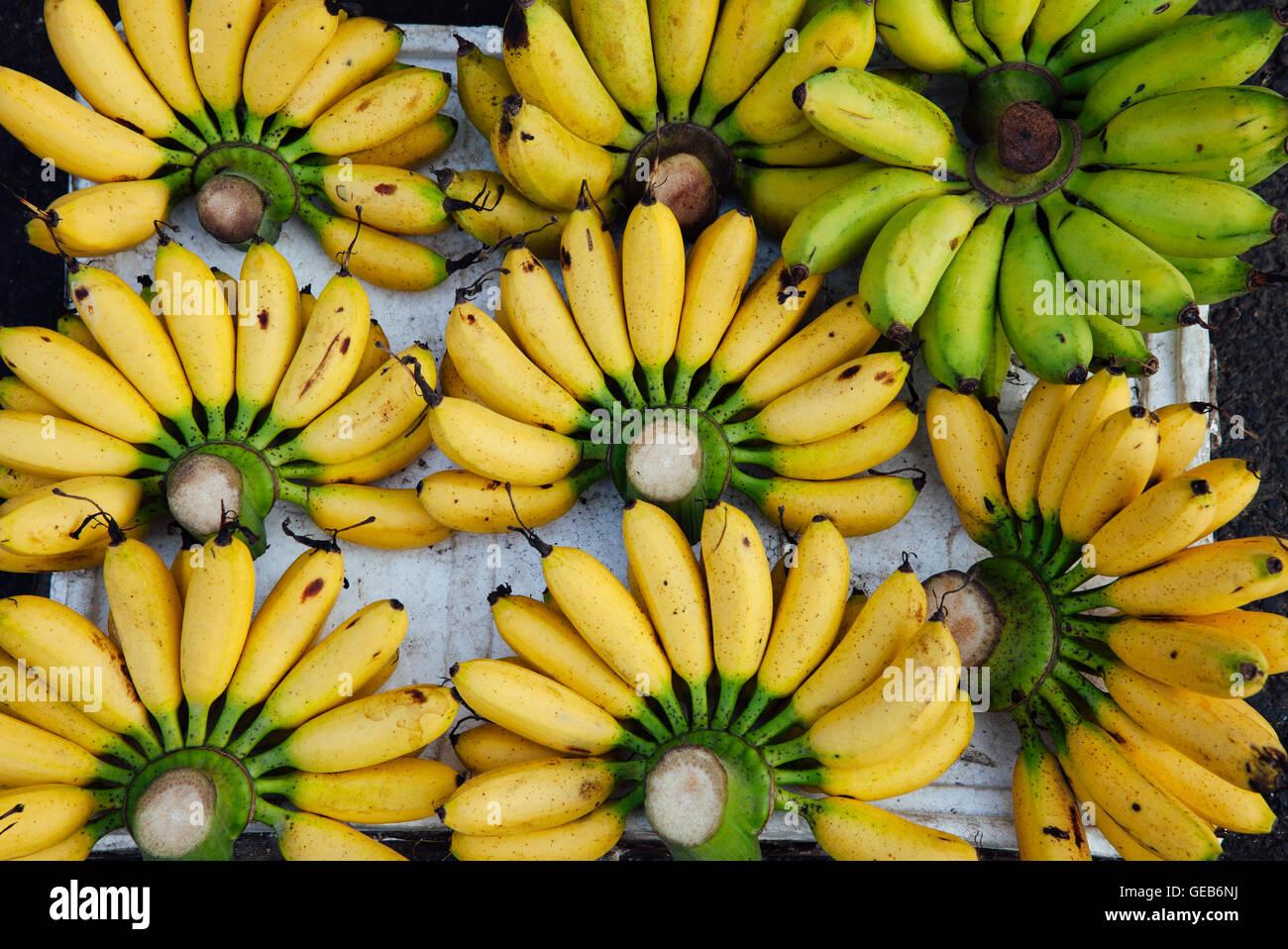 Reife Bananen auf dem Straßenmarkt in Vietnam Stockbild