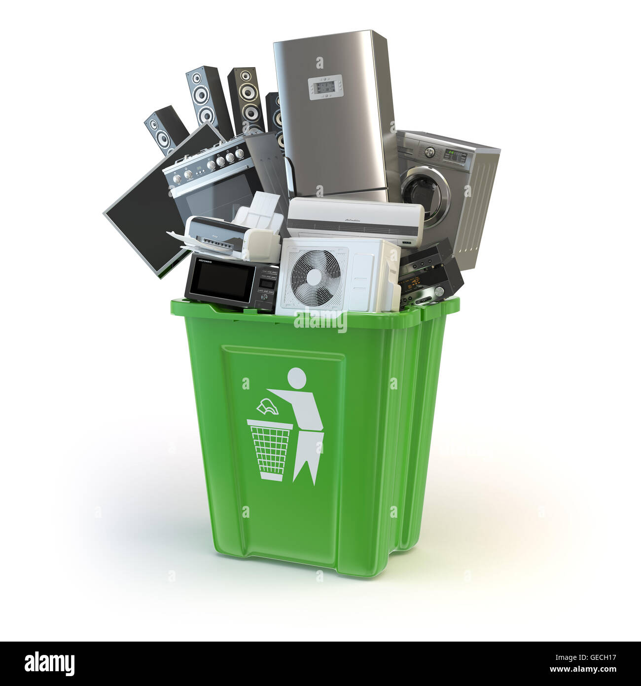 Alte Küchengeräte in den Mülleimer, isoliert auf weiss. Zeit nach ...