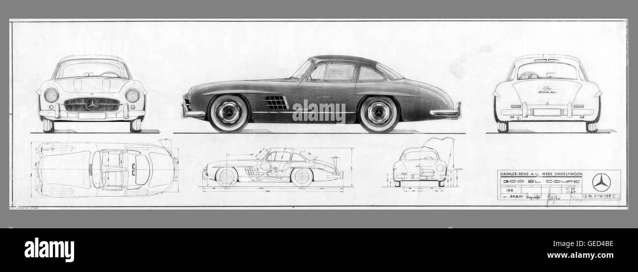Ursprünglichen Blaupause, die 1954 von Mercedes Benz 300SL \