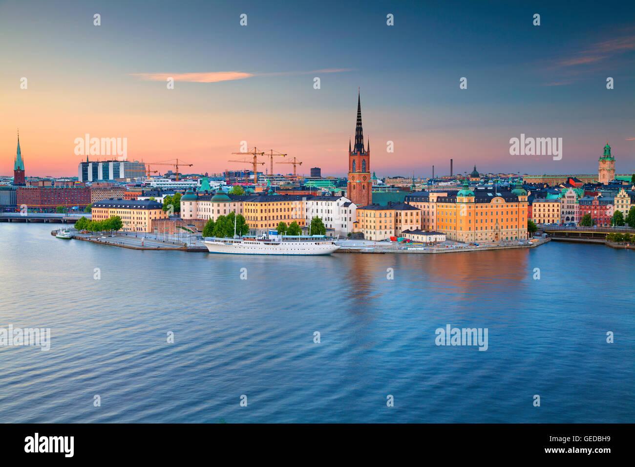 Stockholm. Bild von Stockholm während der blauen Dämmerstunde. Stockbild