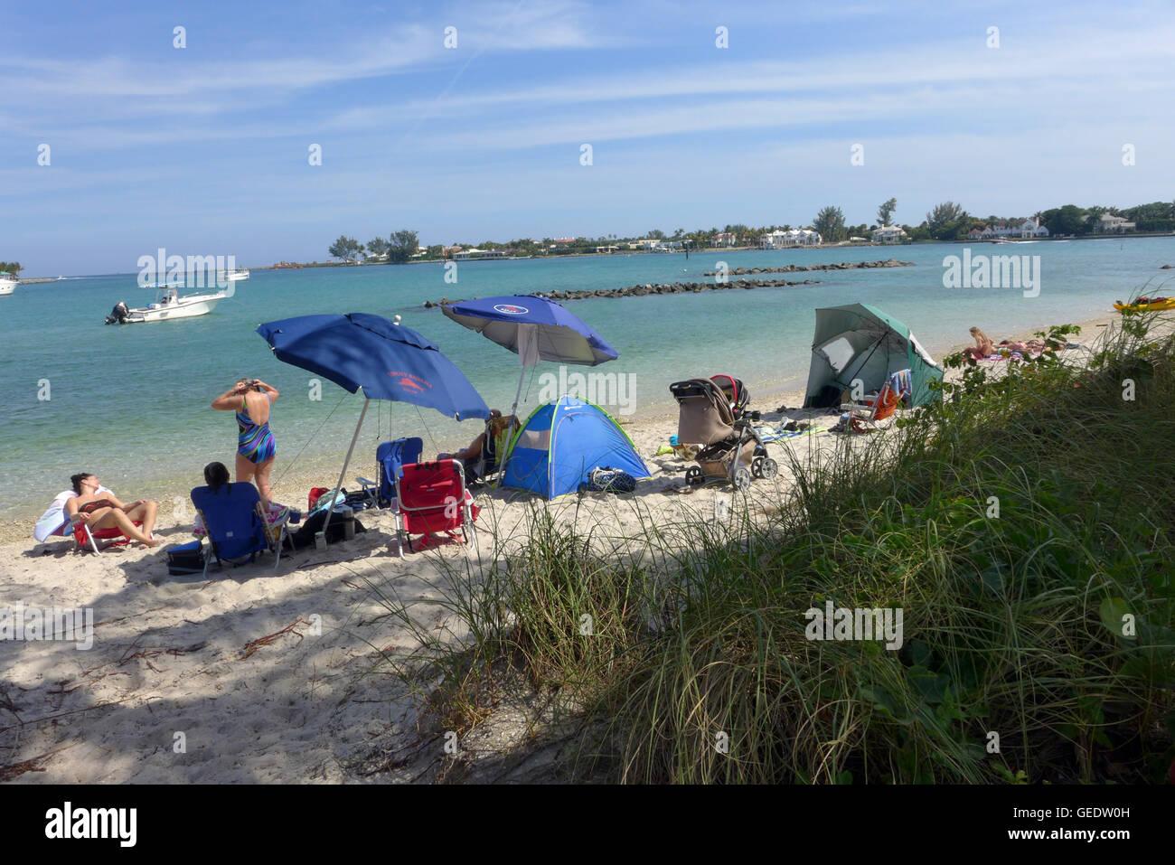 Erdnuss-Insel in Palm Beach County South Florida ist ein von Menschenhand geschaffenen Insel-Park und Ort verwöhnen. Stockbild