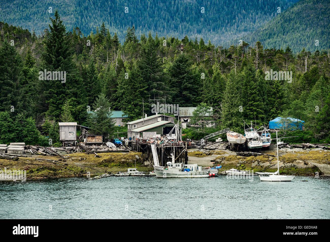 Aus der Raster-Kabine auf Gravina Island, Alexander Archipel, Alaska, USA Stockbild