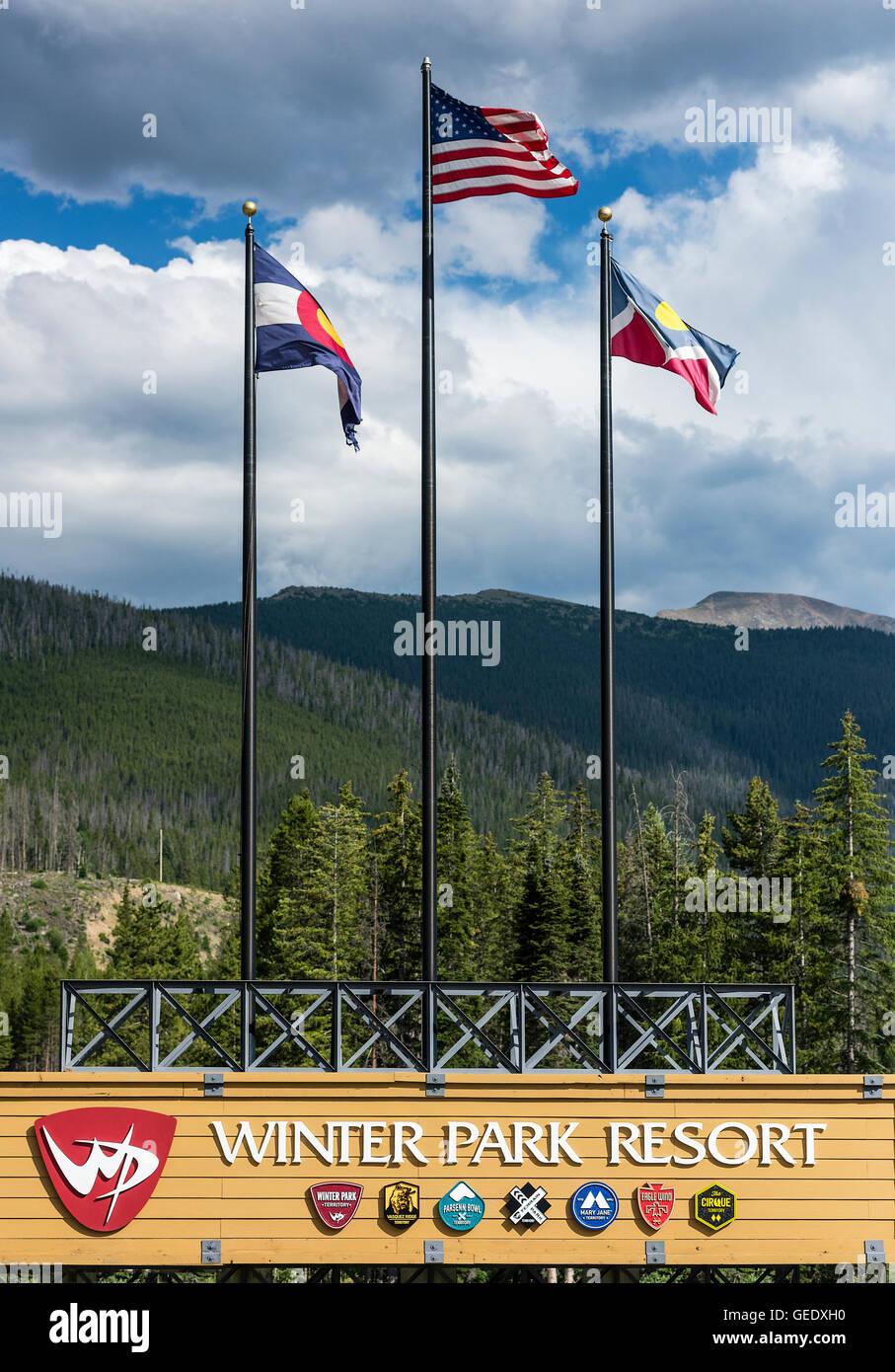 Winter Park Ski Resort, Colorado, USA Stockbild