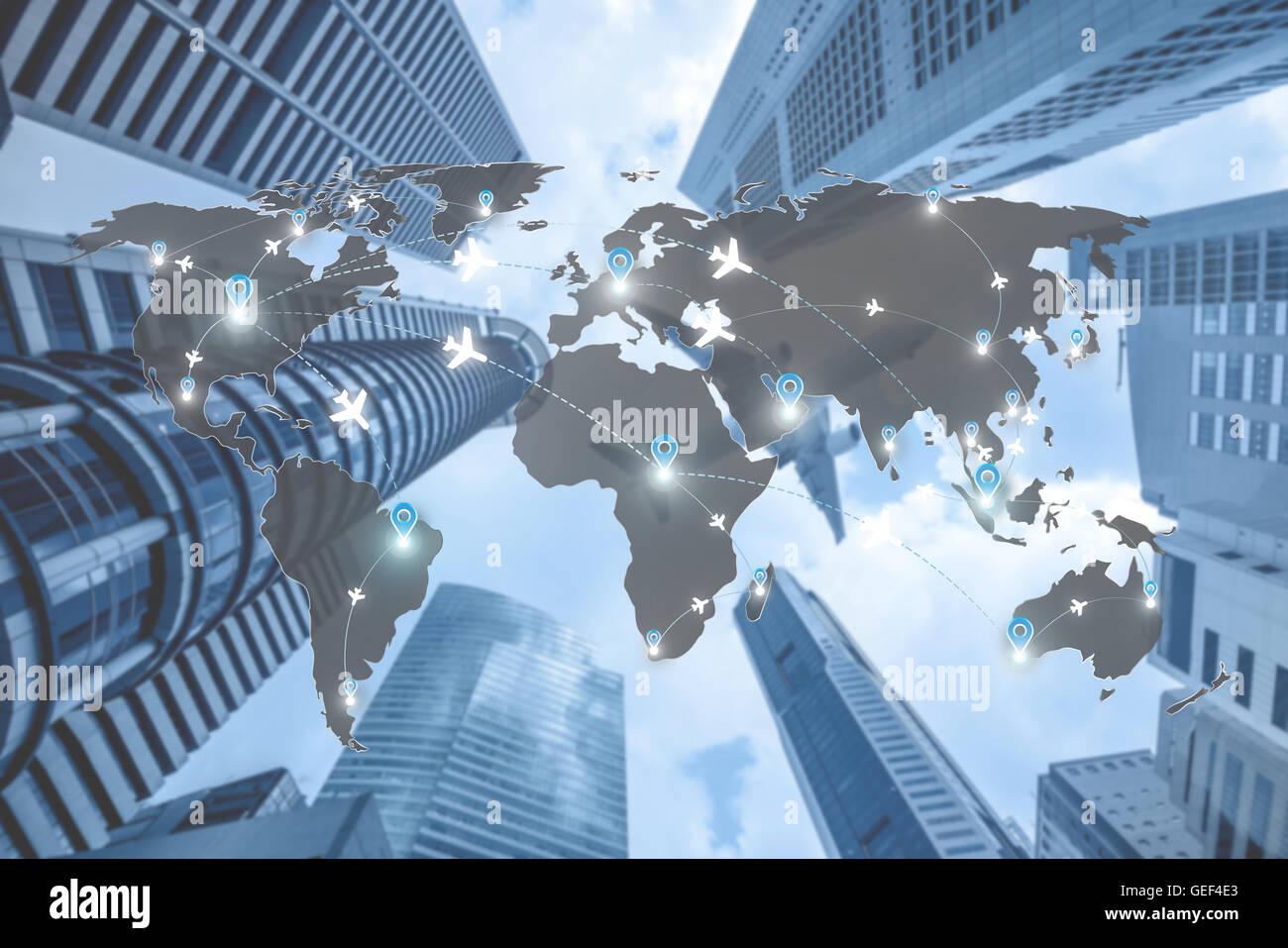 Karte von Flug Strecken Flugzeuge Netznutzung für weltweite Reisen, Import, Export, Logistik-Netzwerk-Konzept. Stockbild