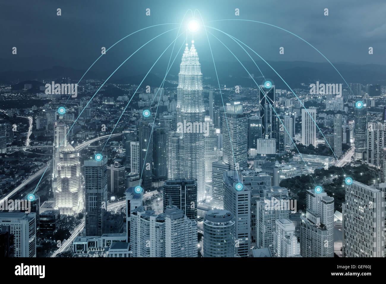 Stadtbild und Netzwerk Verbindung Verwendung für globales Netzwerk Verbindung Partnerschaftskonzept. Stockbild