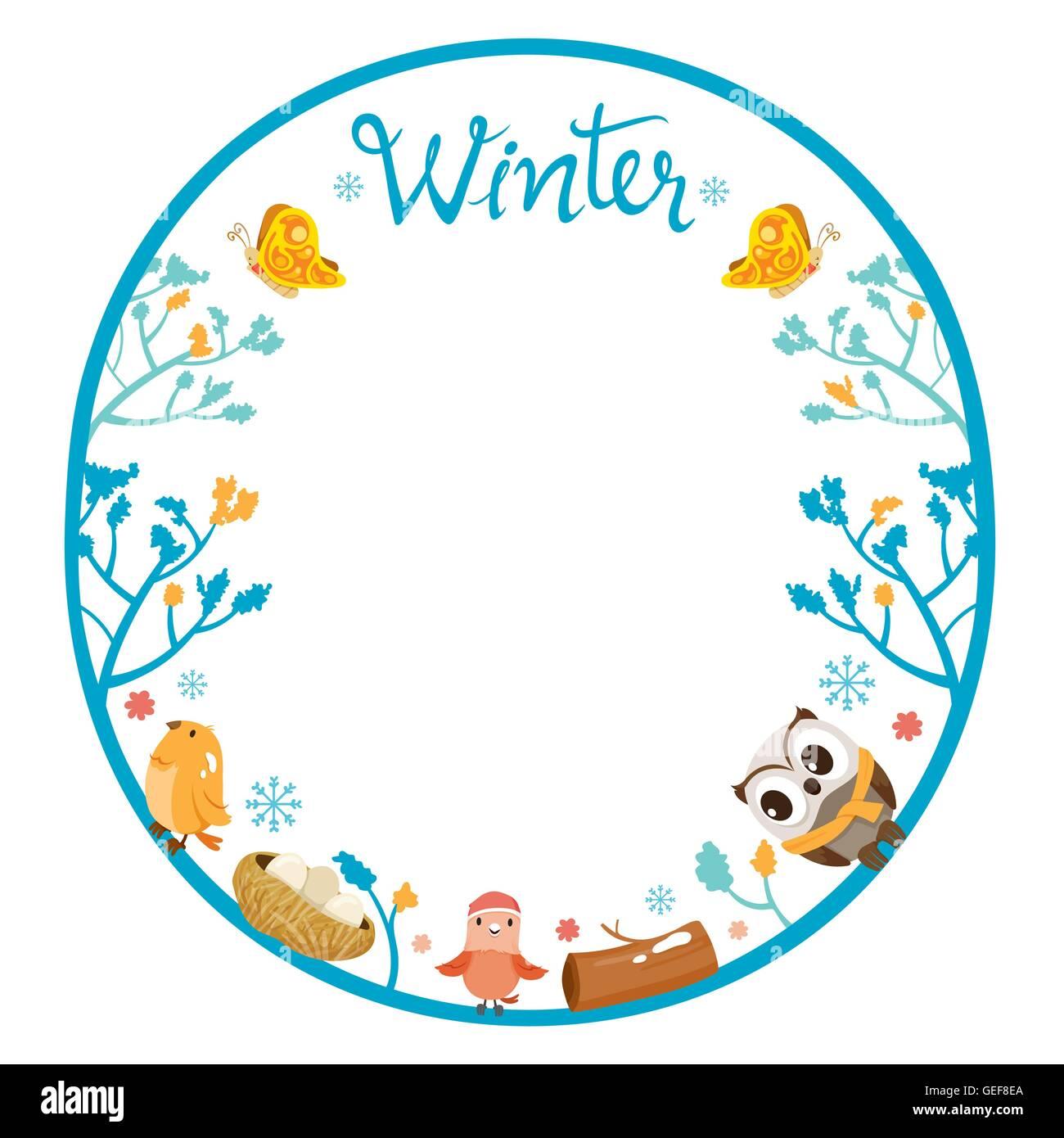 Winter Baum mit Tier auf Kreis Rahmen, Aktivität, Travel, Saison ...