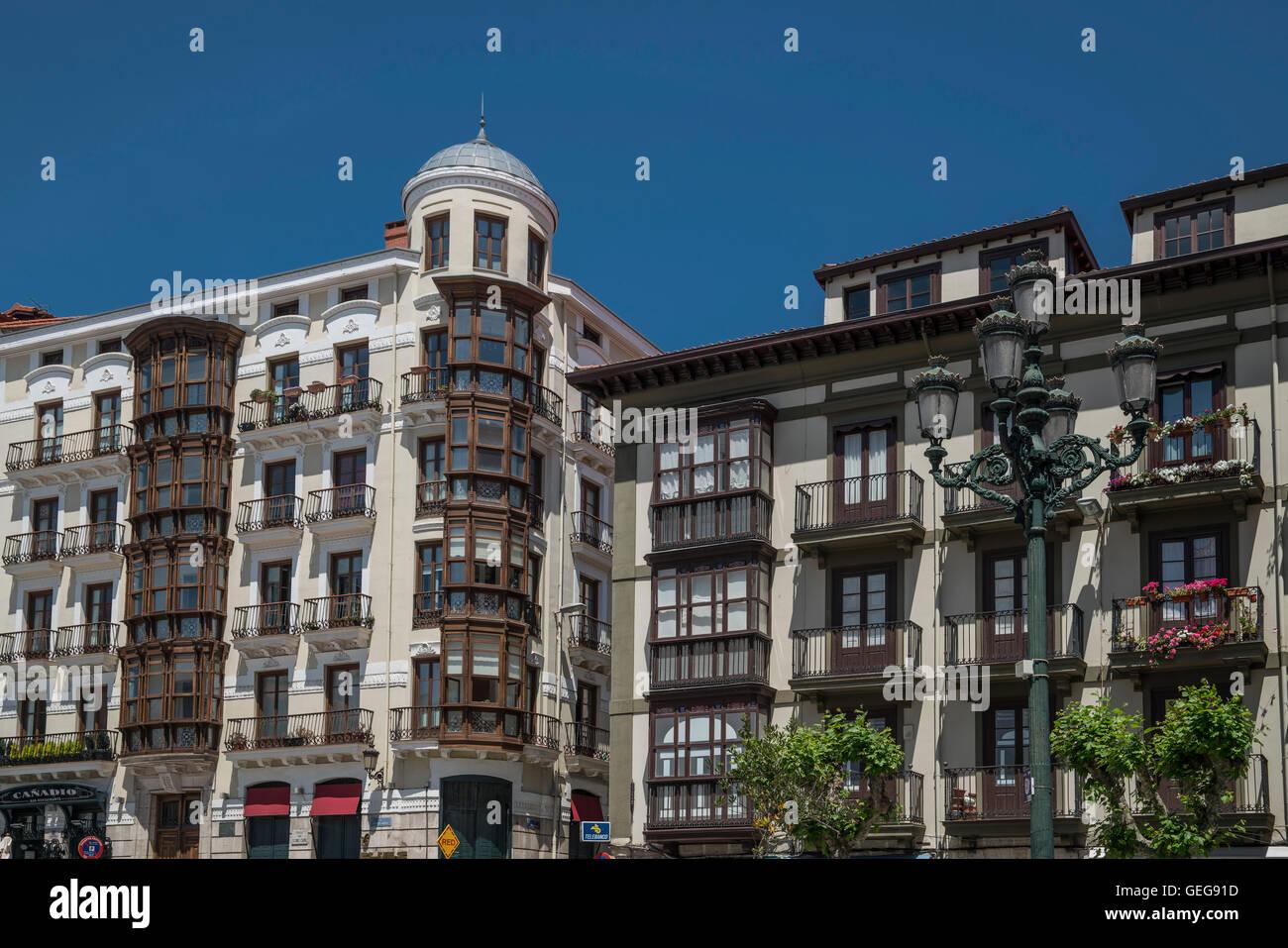 Stadtzentrum-Architektur Santander, Kantabrien, Spanien Stockbild