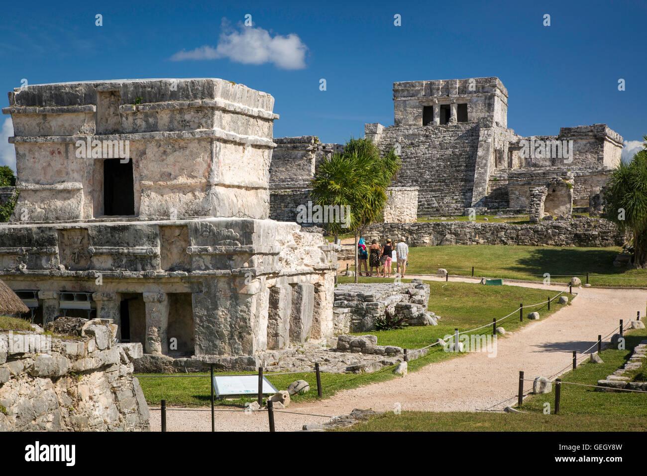 Ruinen der Maya-Tempel-Anlage in Tulum, Mexiko, Yucatan, Quintana Roo Stockbild