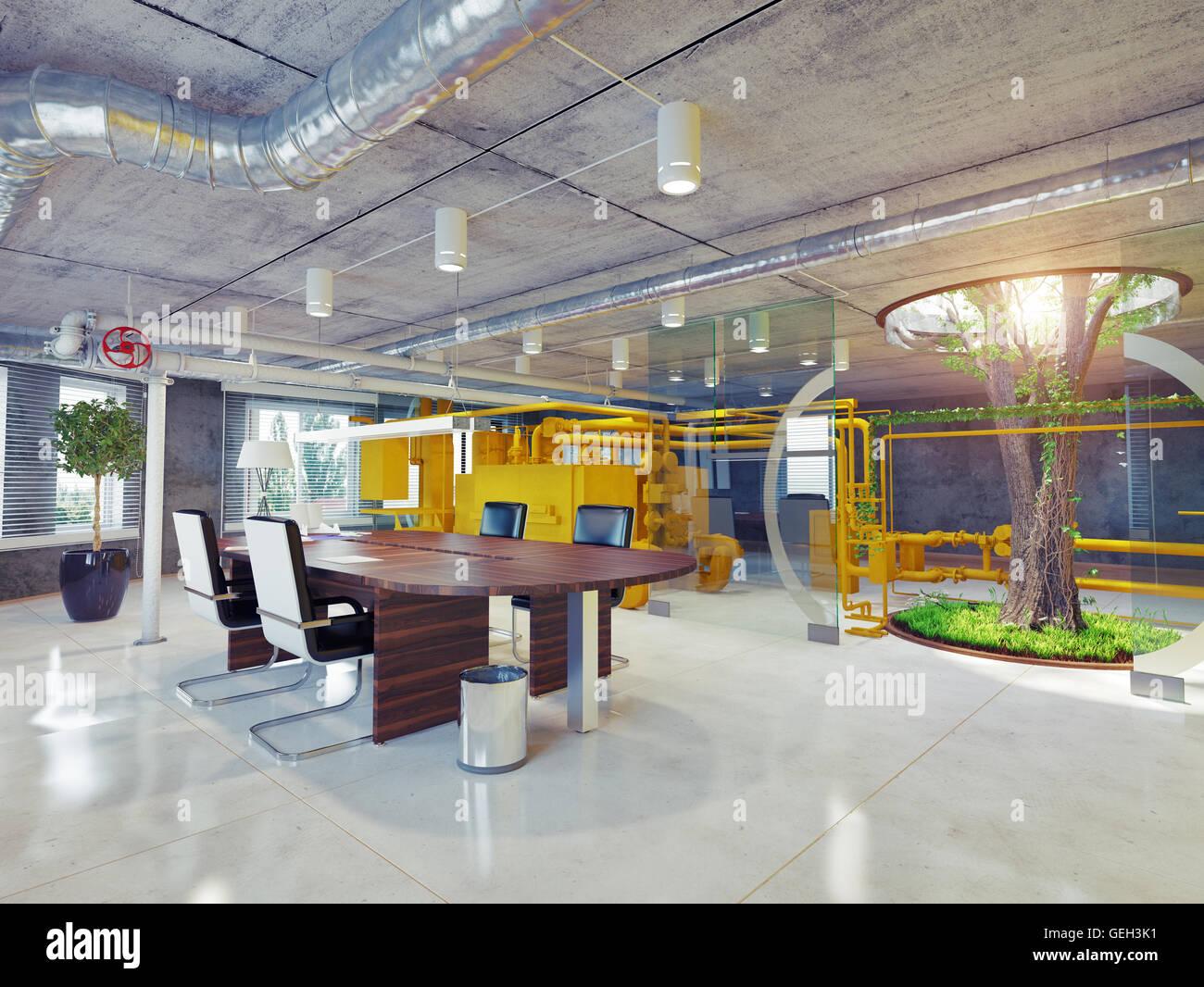 moderne Eco Büroeinrichtung. 3D Architekturkonzept Stockbild