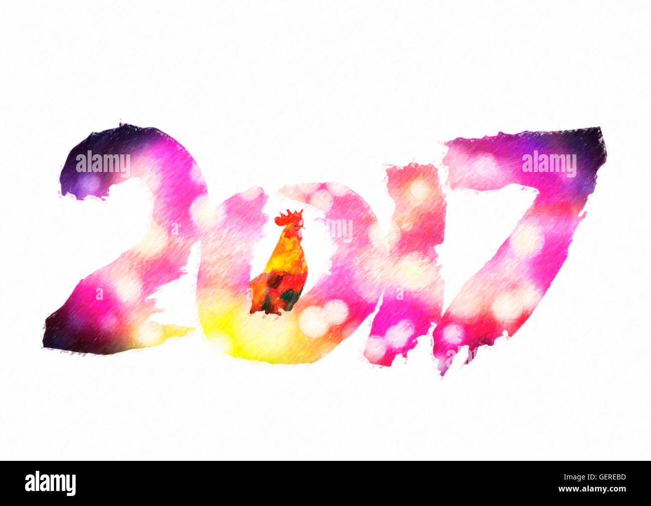Neue 2017 - Jahr des Feuer-Hahns im chinesischen Kalender. Zahlen ...