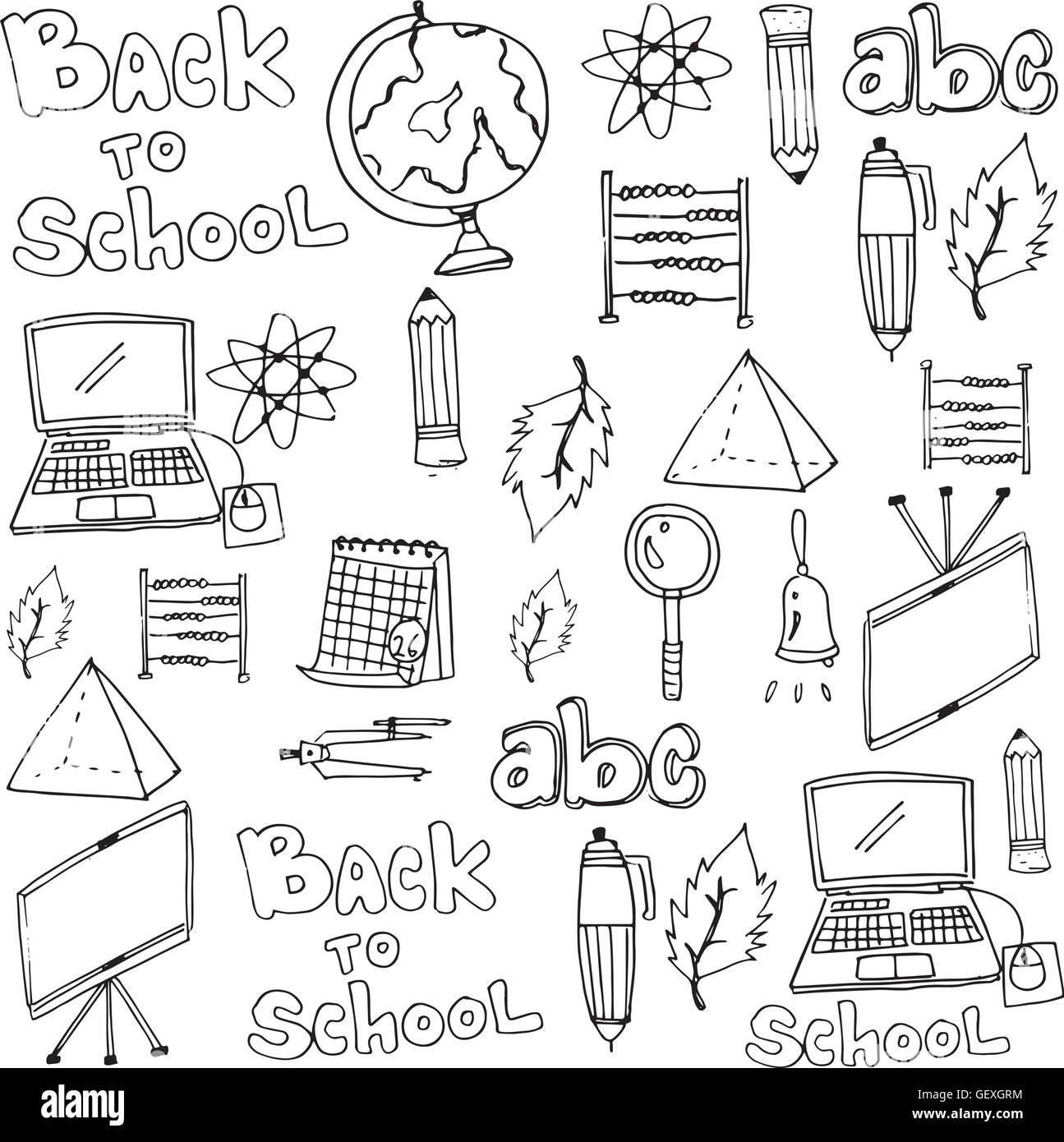 Schule Werkzeuge Unterricht liefert in doodle Stock Vektorgrafik ...