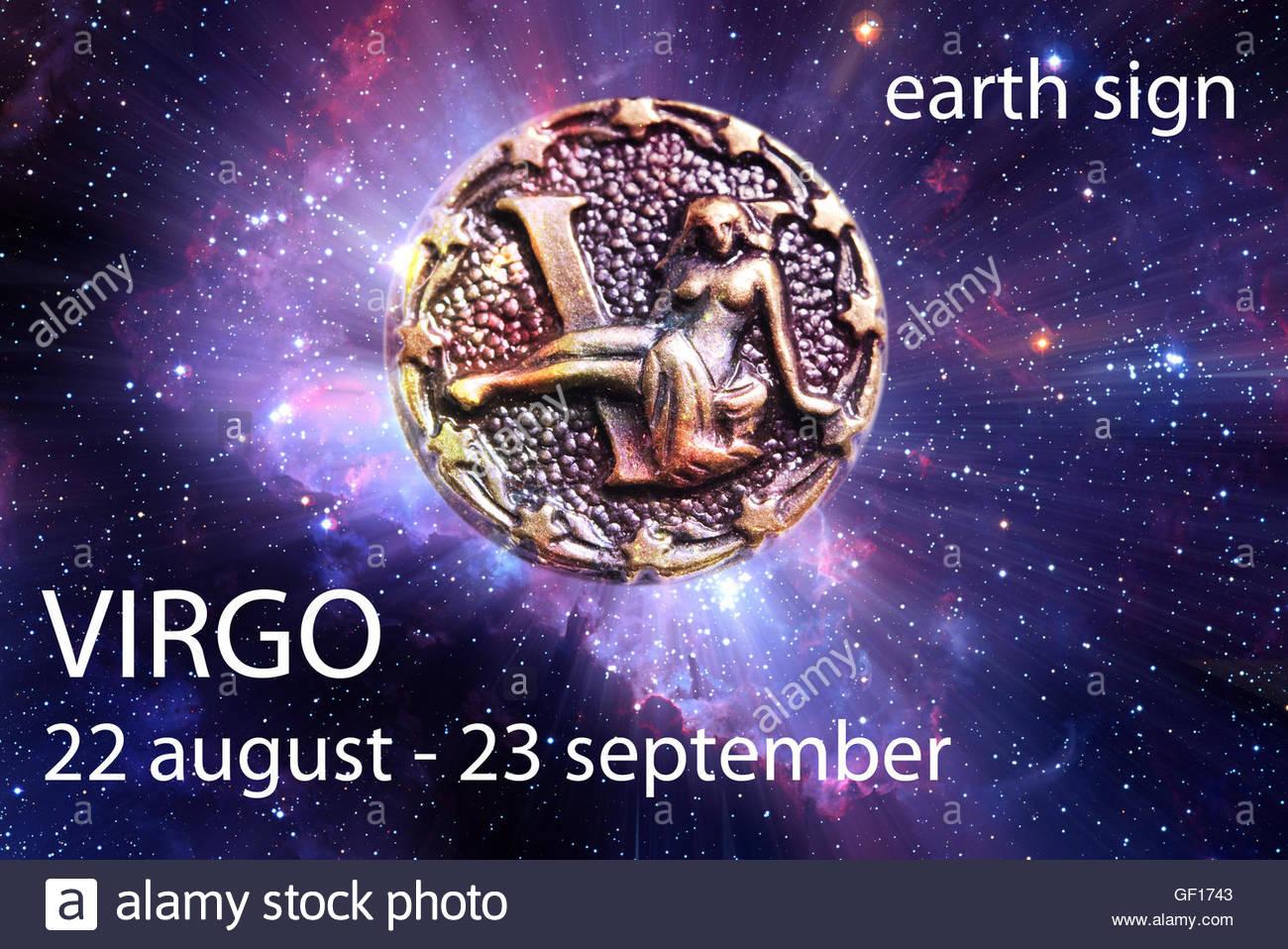 Sternzeichen Jungfrau Mit Datum Und Element Stockfoto Bild