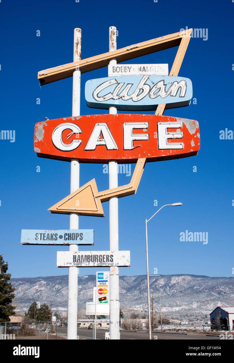 Kubanischen Cafe Zeichen in Kuba New Mexico Stockbild