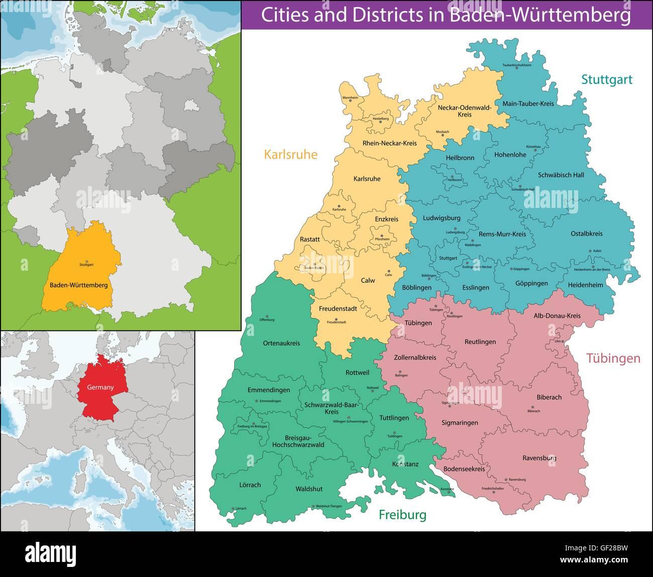 Baden Württemberg Karte.Karte Von Baden Württemberg Vektor Abbildung Bild 112532557 Alamy