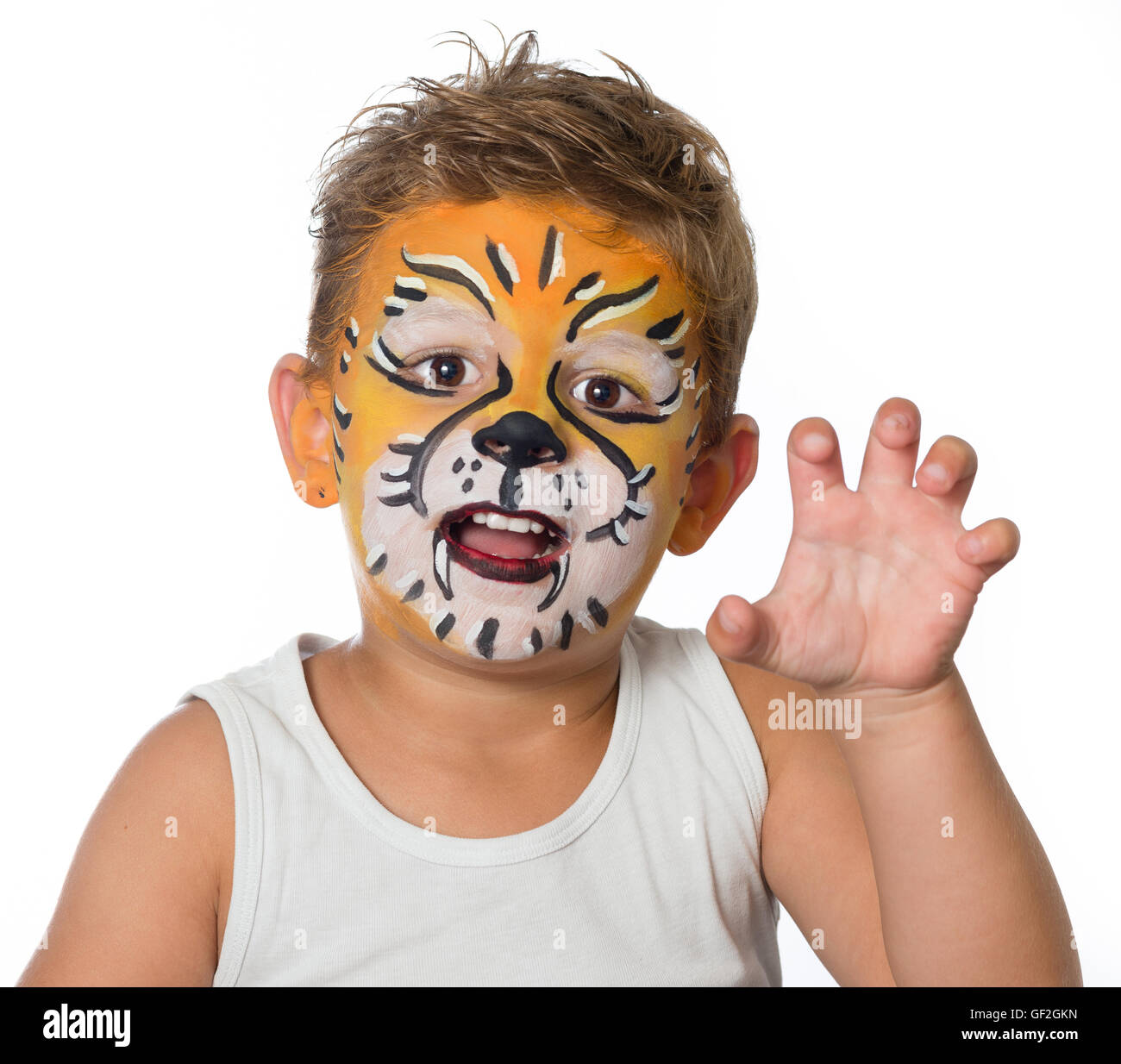 sch ne junge kind mit kinderschminken ein tiger oder ein l we stockfoto bild 112539049 alamy. Black Bedroom Furniture Sets. Home Design Ideas