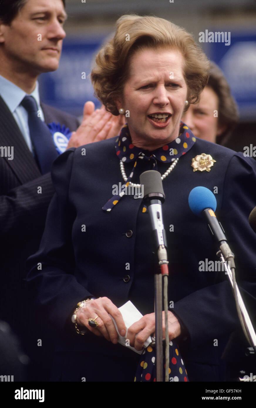 Frau Maggie Margaret Thatcher Unterhauswahlen 1983. Vereinigtes Königreich. HOMER SYKES Stockbild