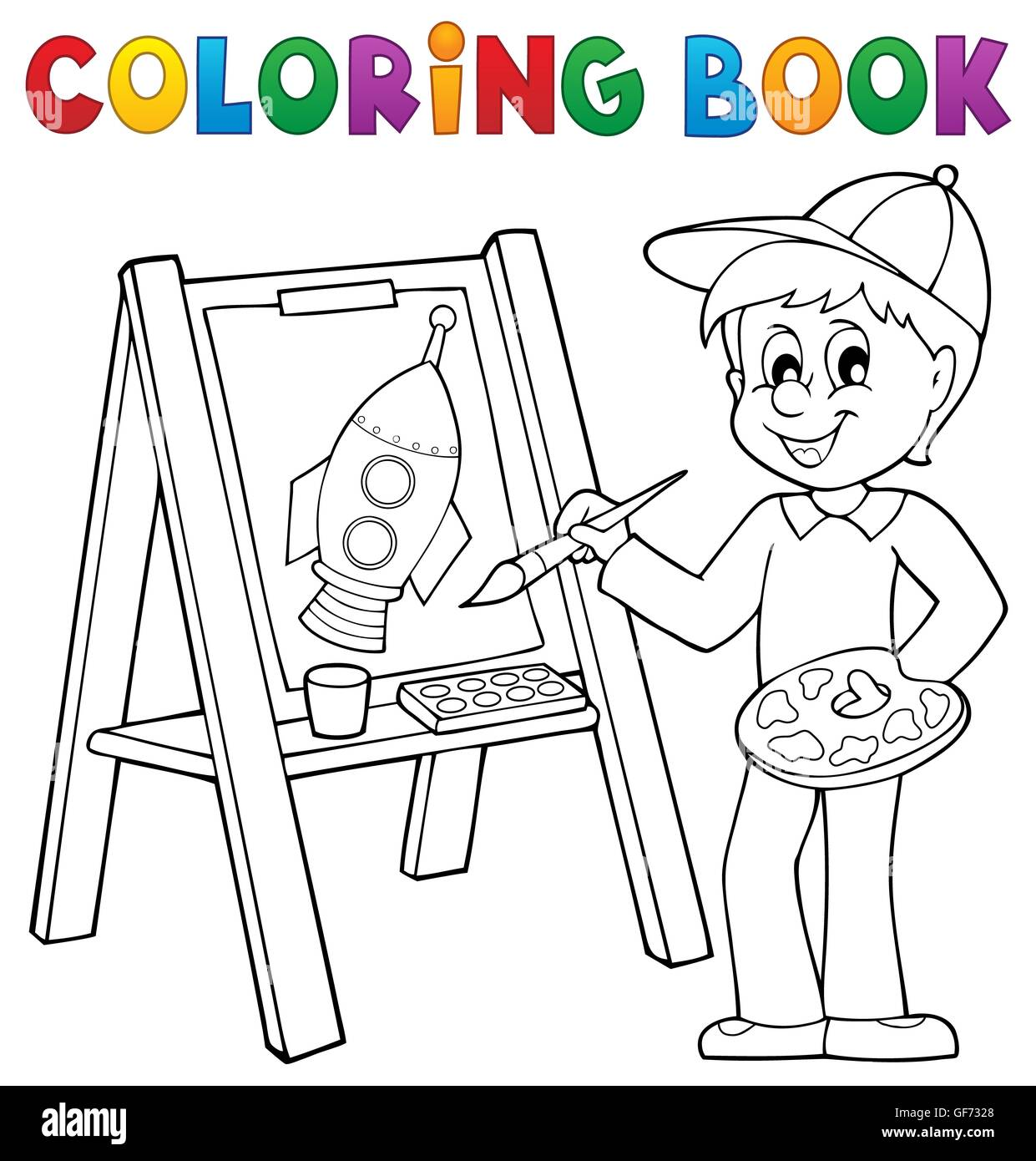 Boy Painting On Drawing Book Stockfotos & Boy Painting On Drawing ...