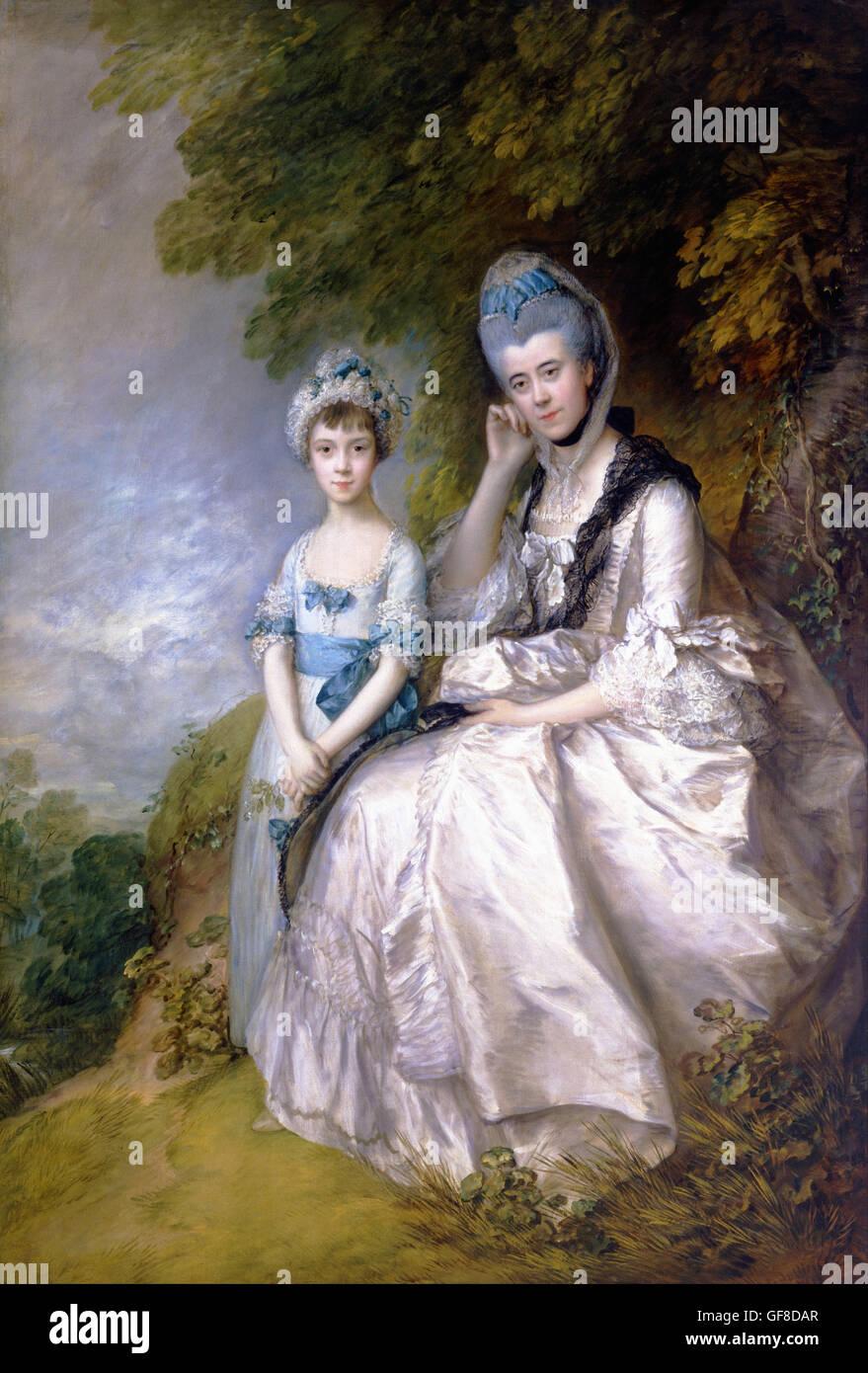 Thomas Gainsborough - Hester, Gräfin von Sussex und ihre Tochter, Lady Barbara Yelverton Stockbild