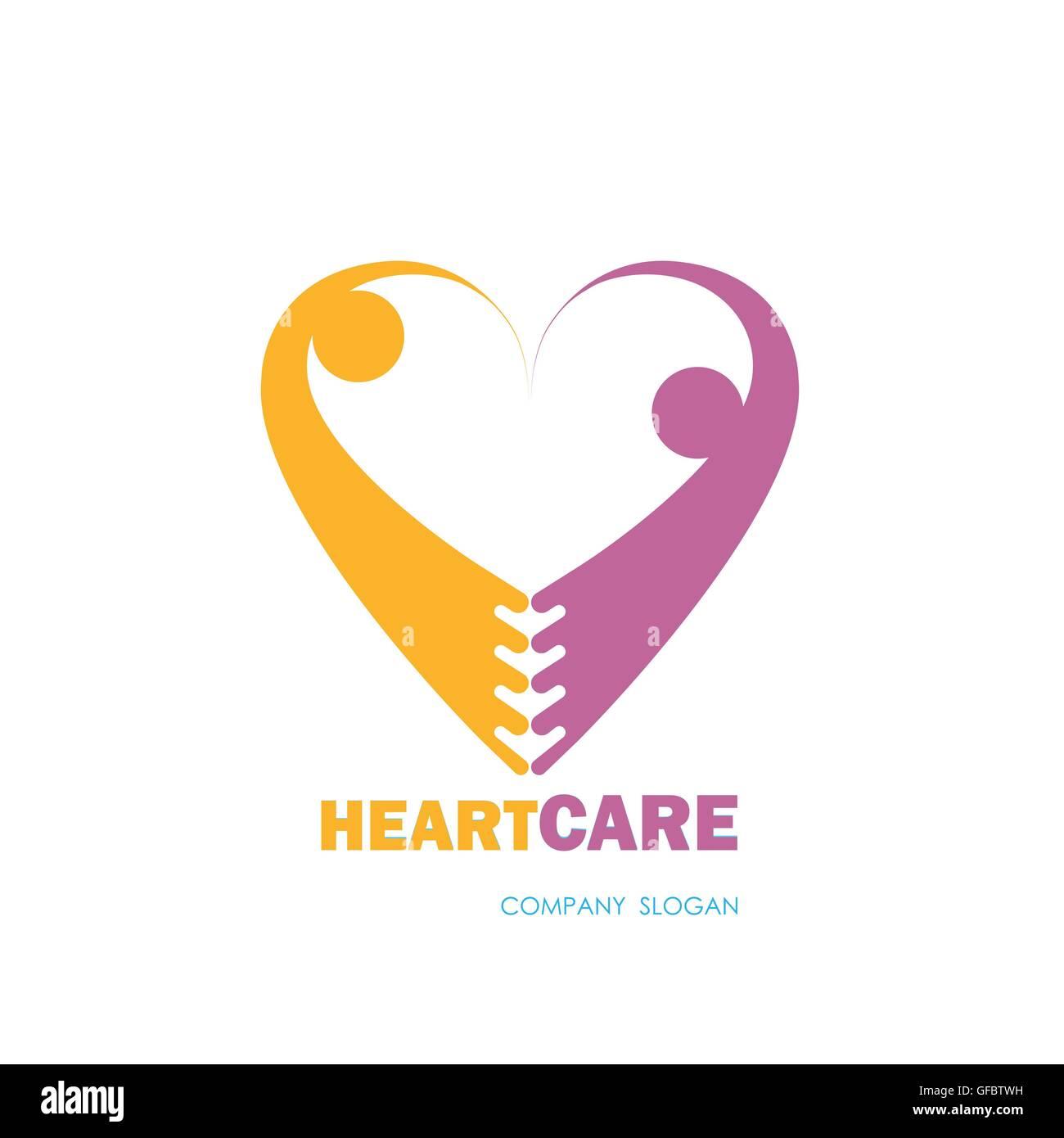 Health Care Medical Symbol Mit Herzform Herz Pflege Logo Vektor