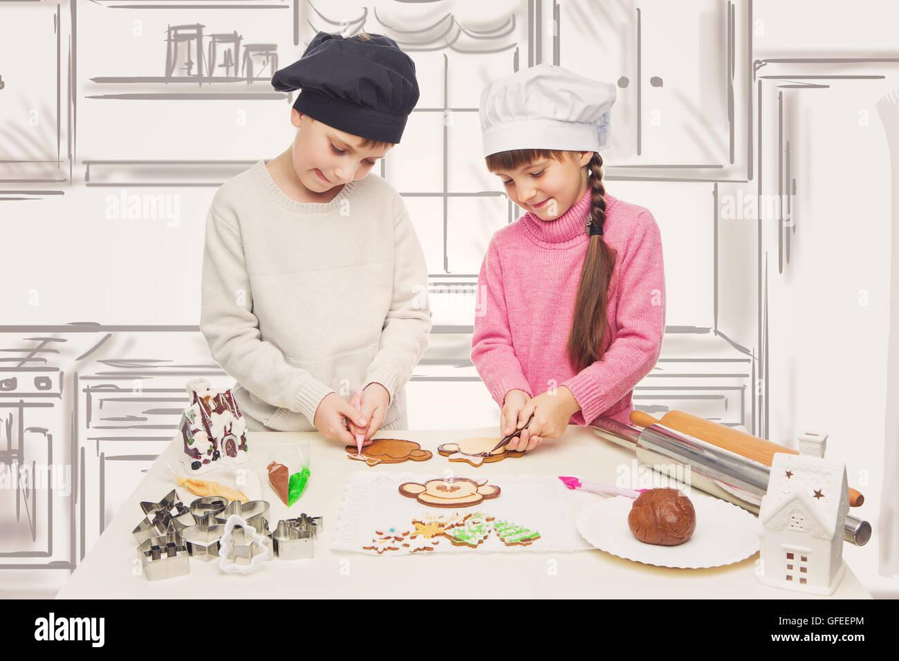 Schone Jungen Und Madchen In Kochmutzen Weihnachtsplatzchen Machen