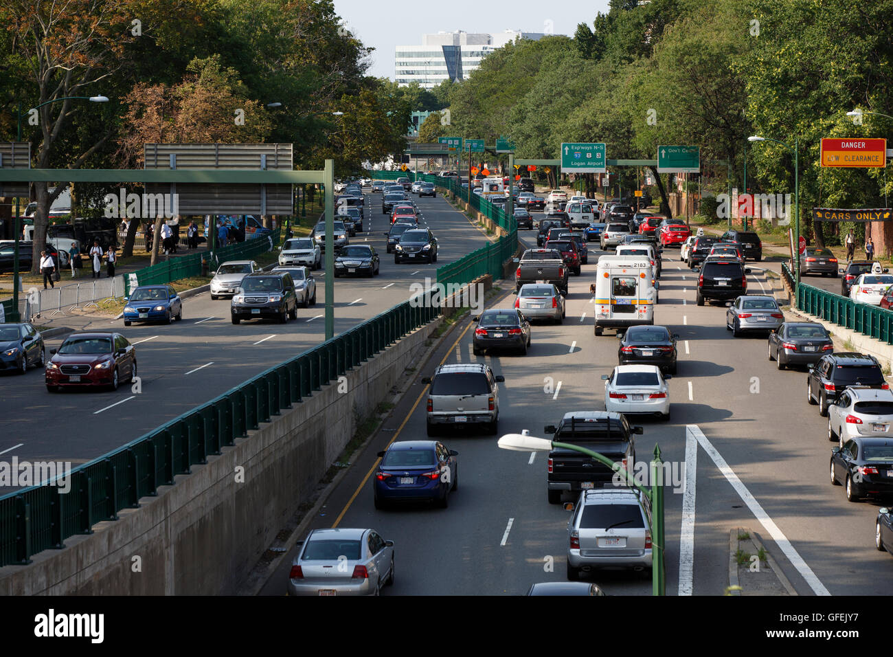 Rush Hour Traffic, Storrow Drive, Boston, Massachusetts Stockbild