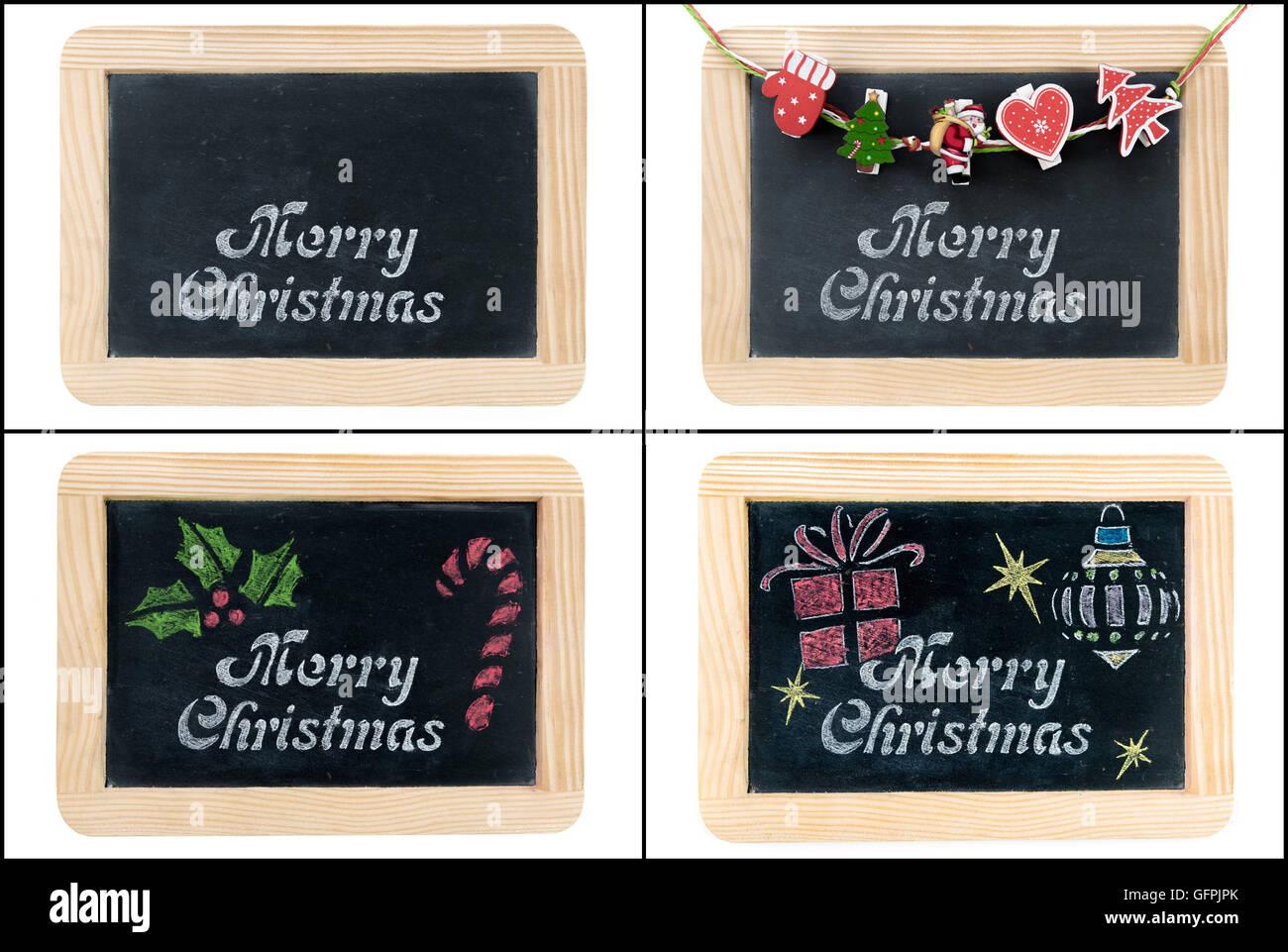Foto-Collage von Frohe Weihnachten Gruß auf Vintage Tafel Rahmen ...