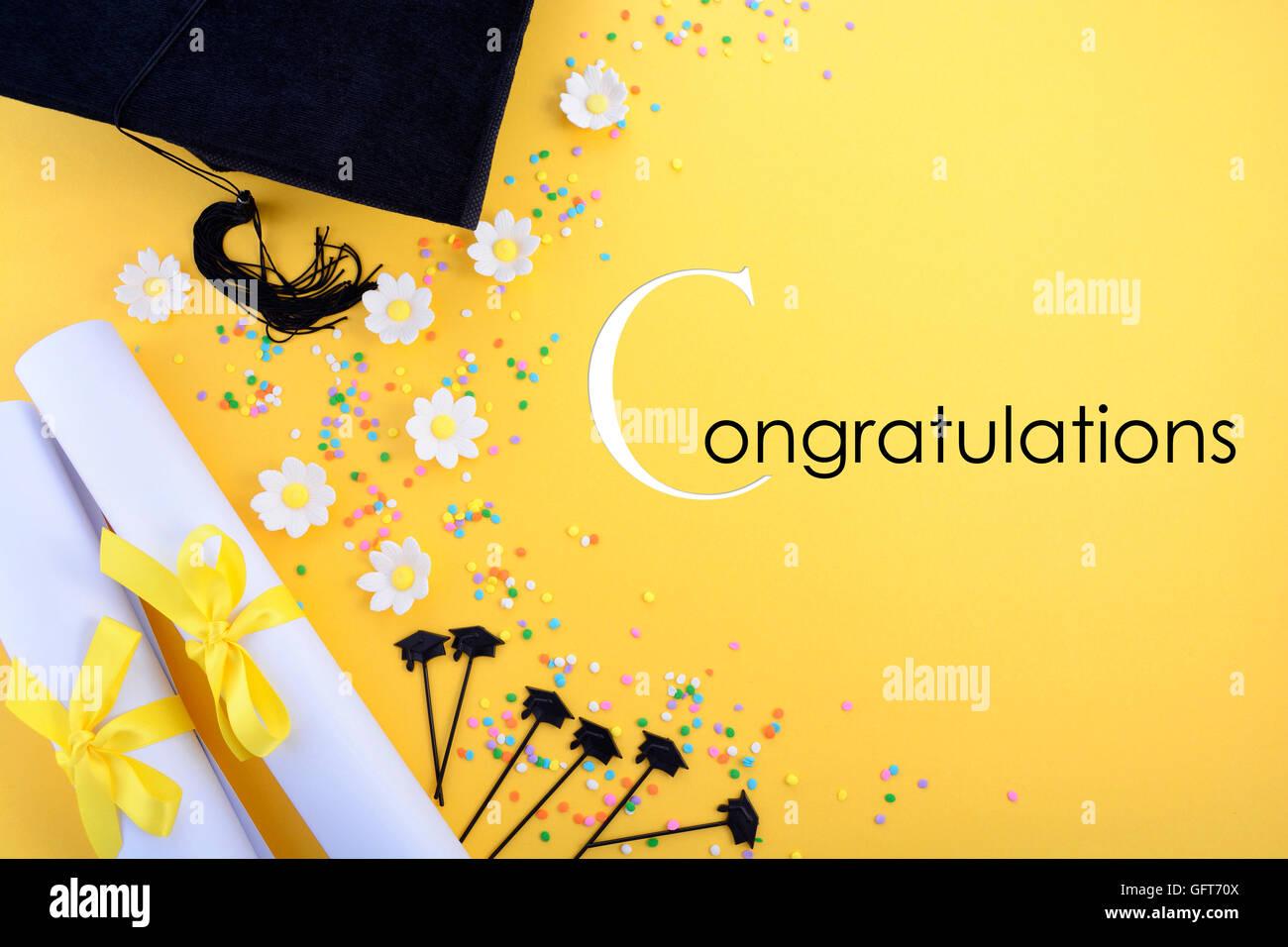 Gelb-schwarz / weiß-Thema Graduierung mit verzierten Rahmen auf ...