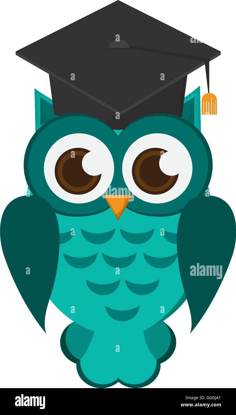 Eule Comic Mit Graduation Cap Symbol Vektor Abbildung Bild