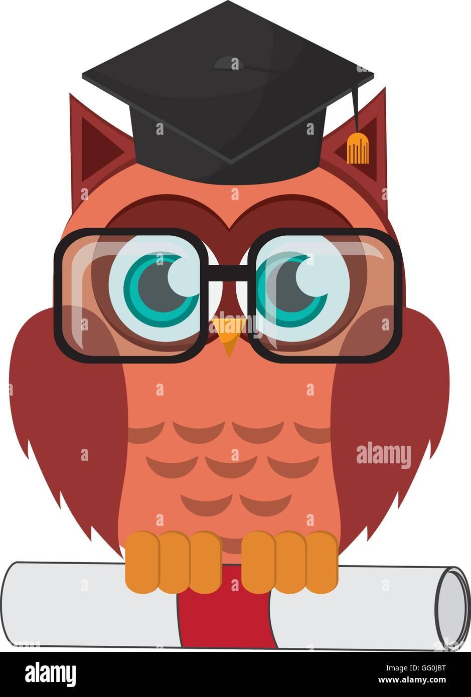 Eule Comic Mit Graduierung Kappe Und Diplom Symbol Vektor Abbildung