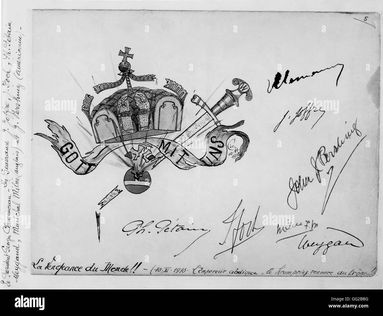 """Illustration aus einem farbigen Album mit dem Titel """"The World Revanche"""" Signaturen von Pétain, Clémenceau, Stockbild"""