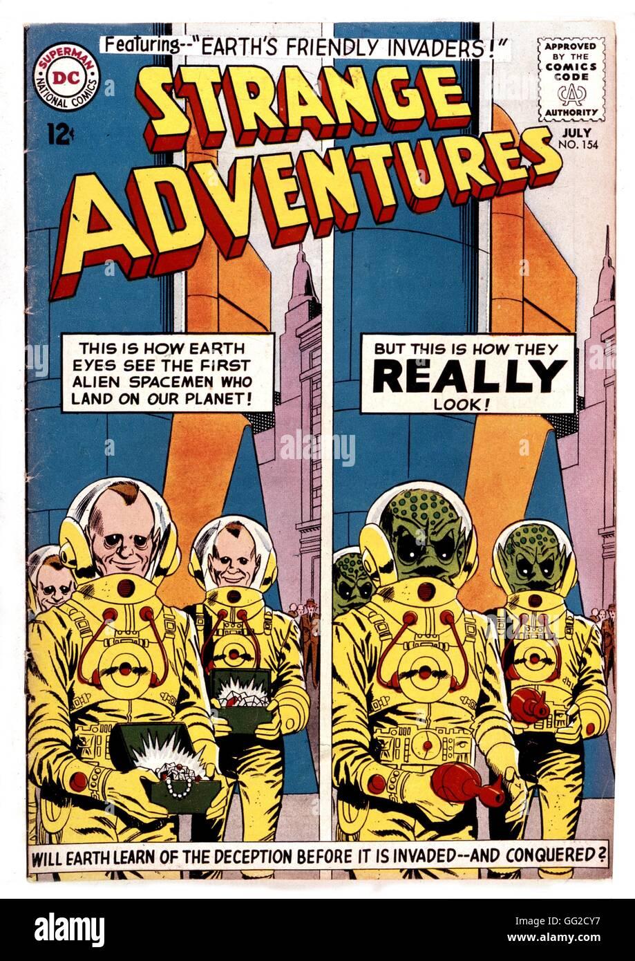 """Cover von der Comic-Strip """"Strange Adventures"""", die Eindringlinge 20. Jahrhundert Frankreich Privatsammlung Stockbild"""