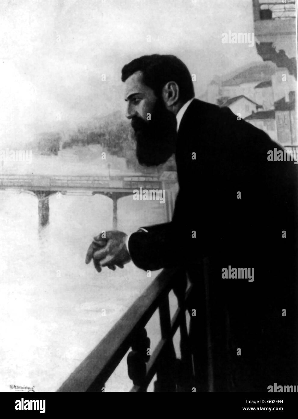 Herzl auf einer Brücke in Basel im Rahmen des 5. zionistischen ...