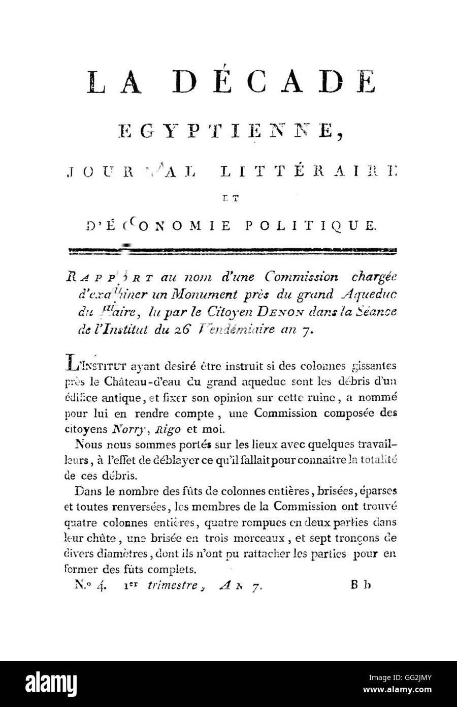 La Décade Egyptienne. Literarische Zeitschrift über Wirtschaftspolitik. N ° 4.  Le Caire, Imprimerie Stockbild