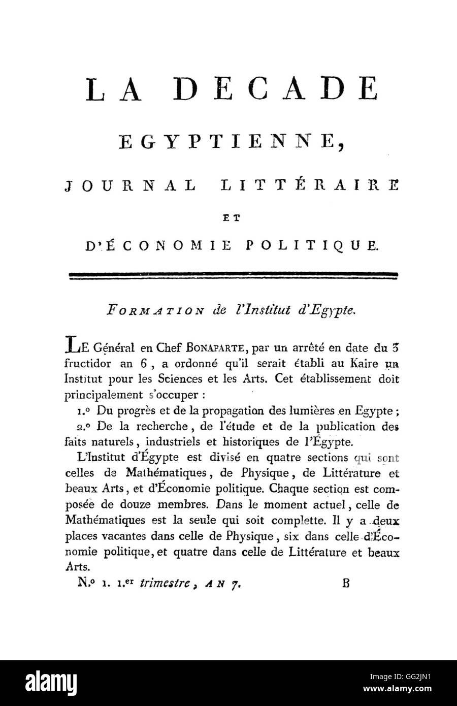 La Décade Egyptienne. Literarische Zeitschrift über Wirtschaftspolitik. N ° 1.  Le Caire, Imprimerie Stockbild