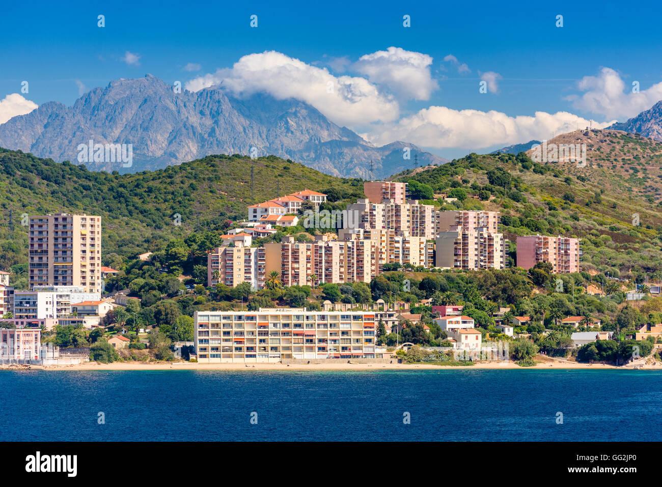 Korsika, Frankreich Badeorte am Mittelmeer. Stockbild