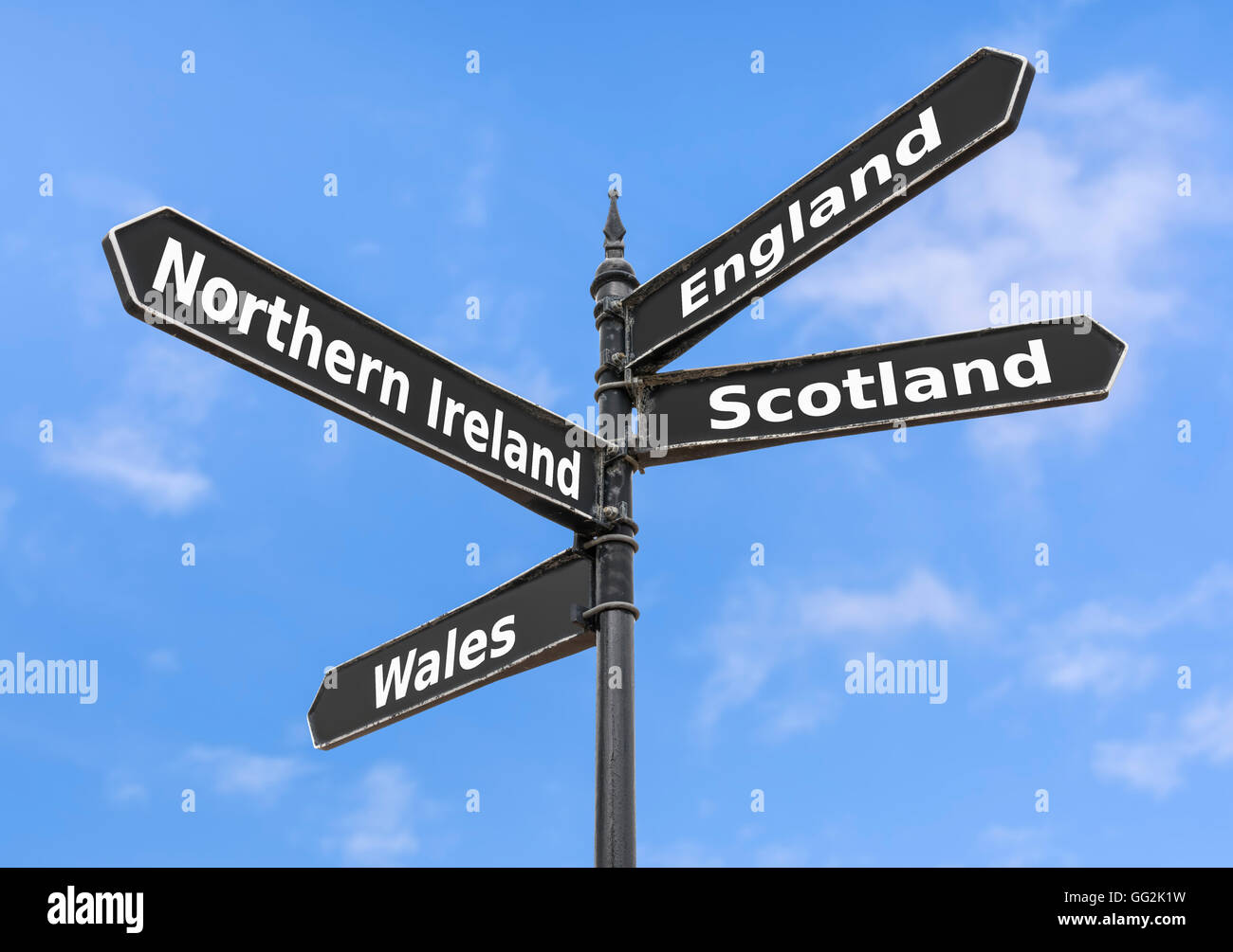 Vereinigtes Königreich Länder zu einem Finger Post, Stockfoto