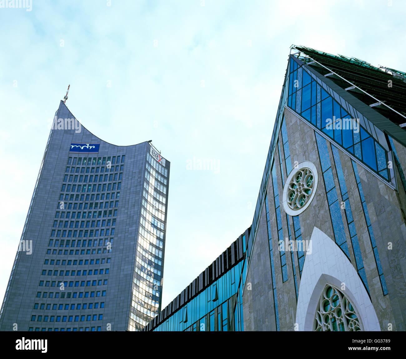 Paulinum Und City-Hochhaus, Leipzig, Deutschland Stockfoto