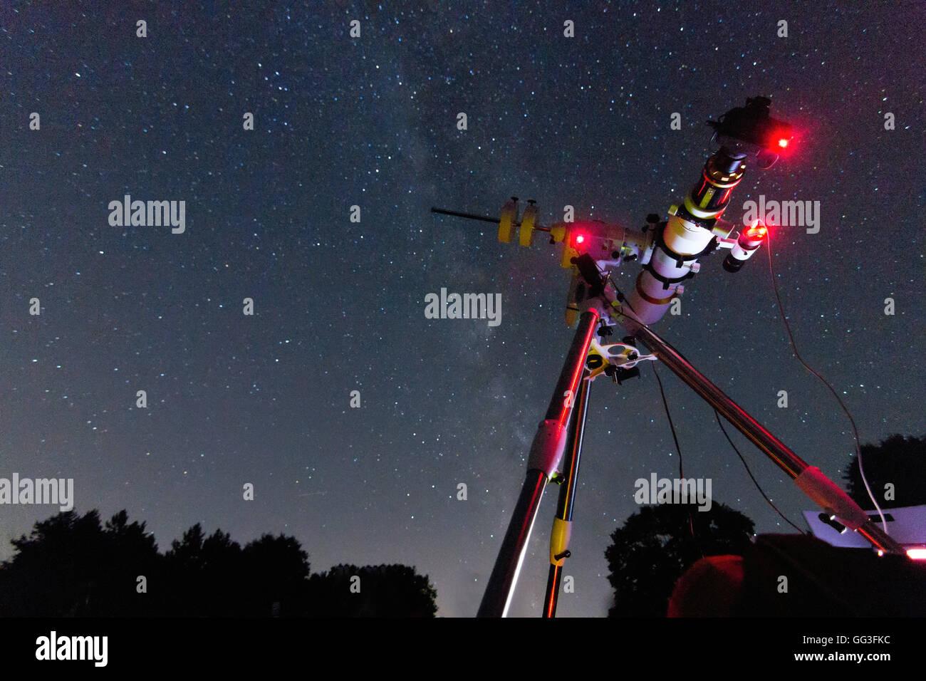Astrofotografie setup in klaren nächten refraktor typ in realen