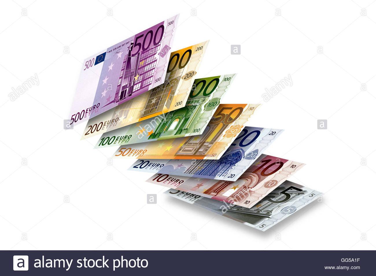 Foto von 5 bis 500 Euro-Banknoten Kaskadierung nach oben von der Oberfläche. Stockbild