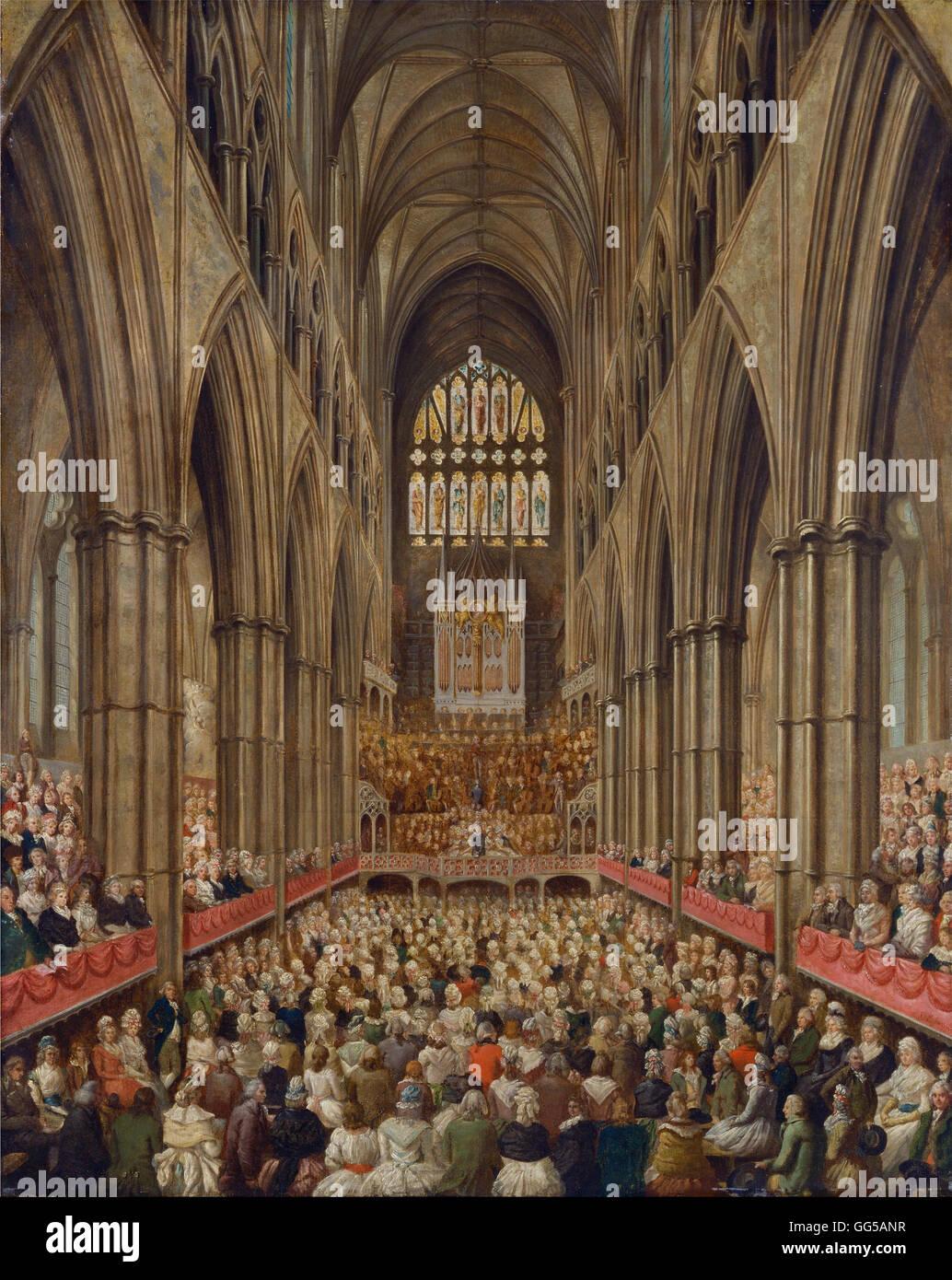 Edward Edwards - Innenansicht der Westminster Abbey auf das Gedenken an Georg Friedrich Händel, entnommen aus Stockbild